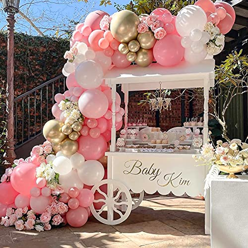 Sumtoco Guirnalda Globos Rosa Niña, Arcos de Globos Cumpleaños con Color Rosa Pastel Globos de Oro Blanco y Metálico para Decoracion Bautizo Comunion de Fiesta de Boda de Baby Shower.
