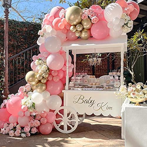 Sumtoco Palloncini Compleanno Rosa, Ghirlanda Palloncini Addobbi Compleanno Bambina Decorazioni per Nascita Bambino Matrimonio Fidanzamento Nuziale Anniversario Compleanno. (Rosa)