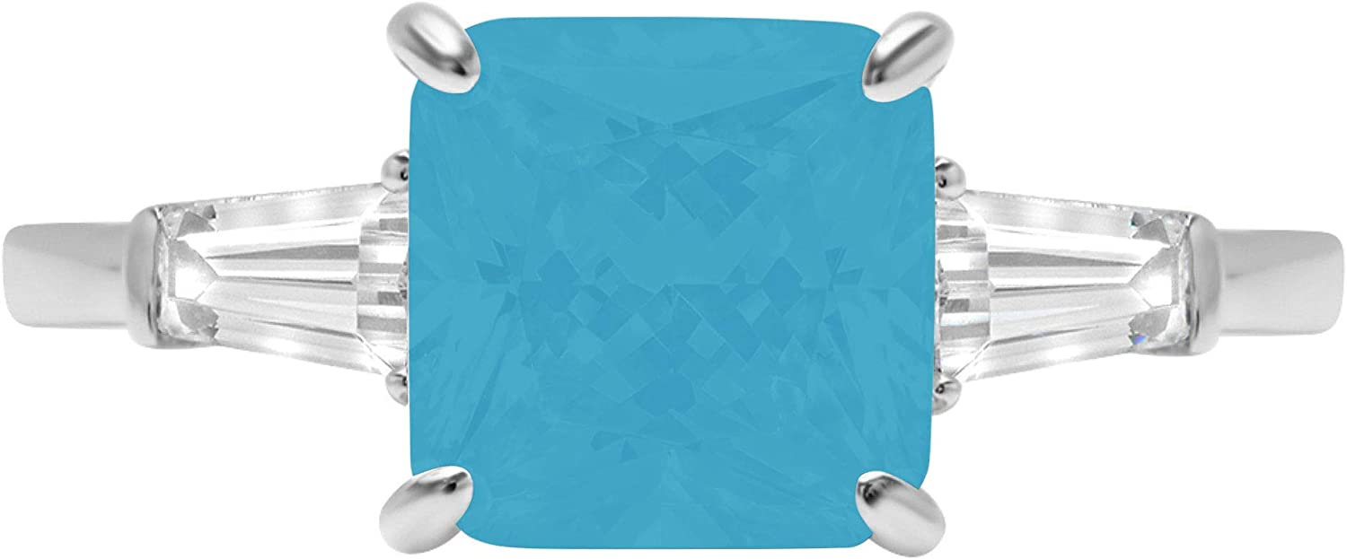 3.44ct Asscher Baguette cut 3 stone Solitaire with Accent Flawless Ideal VVS1 Simulated Blue Turquoise CZ Engagement Promise Statement Anniversary Bridal Wedding Designer Ring 14k White Gold