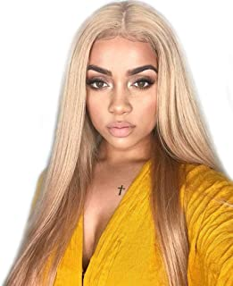 AZWIG 13x6 Lace Front Wig Kanekalon Fiber Synthetic Wig for Women Long Silky Straight Lace Front Wig Soft&Smooth Comfortable and Adjustable Elastic Straps for Perfect Fit #103 Blonde 22inches