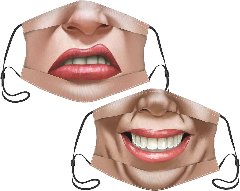 2PCS Funny Women Men Teeth Face Mask for Adults Men Women, Face Bandana Balaclava Reusable and Adjustable with 2 Filter