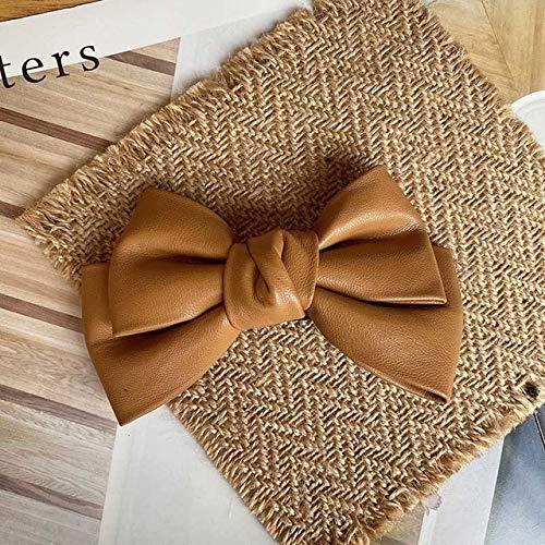 Moda pu cuero color sólido arco horquilla pato primavera clips invierno pelo ornamento niñas accesorios para las mujeres