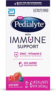 Pedialyte Electrolyte Powder with Immune Support, Mixed Berry, Electrolyte Hydration Drink 0.6 oz Powder Packs, 24 Count