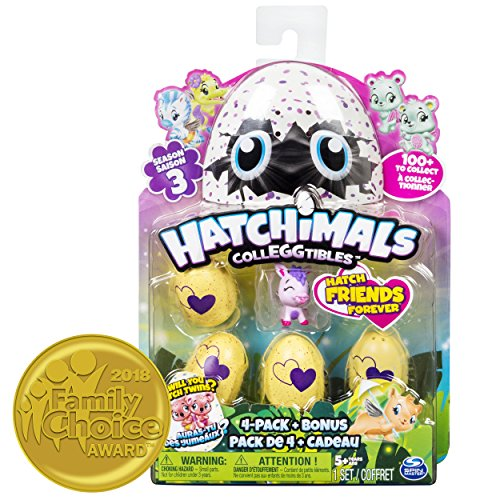 Spin Master- CollEGGtibles 4 Pack + Bonus-Season 3 Pack de 5 Hatchimals Série 3-Modèle Aléatoire, Multicolor (6041341) , color/modelo surtido