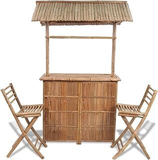 vidaXL Set Barra de Bar Bambú 2 Sillas Plegables Techo Jardín Terraza Tropical