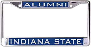 WinCraft Indiana State University ISU Sycamores Premium License Plate Frame, Metal with Inlaid Acrylic, 2 Mount Holes, Blue