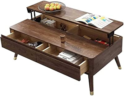 Lift Top Wood Coffee Table Modern Lift Top Storage Coffee Table with Hidden Compartment and 2 Drawers Lift Table top Furniture for Home Living Room