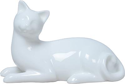 5.75 Inch All White Glazed Porcelain Cat Lying Down Faces Left