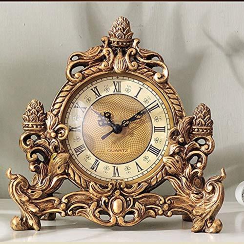 WZHZJ Batería analógica de Reloj de Escritorio de Reloj Retro Europeo con Mecanismo de Barrido silencioso, Reloj de decoración para el hogar
