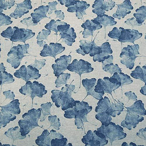 Tela de algodón por metros, color azul claro, Ginkgo y Indigo, tela decorativa para cortina, tela de cortina