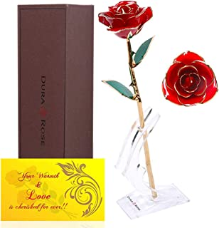 DuraRose Authentic Rose with Stand and Love Card, Everlasting Rose Stem Dipped in 24k Gold - Best Gift for Loves Ones. Ideal for Valentine's Day, Mother's Day, Anniversary, Birthday, (Red)