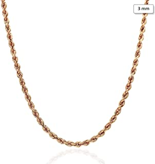 """14K Solid Rose Gold 3mm Diamond Cut Rope Chain Necklace 18"""" 20"""" 22"""" 24"""" 26"""" 28"""" 30"""""""
