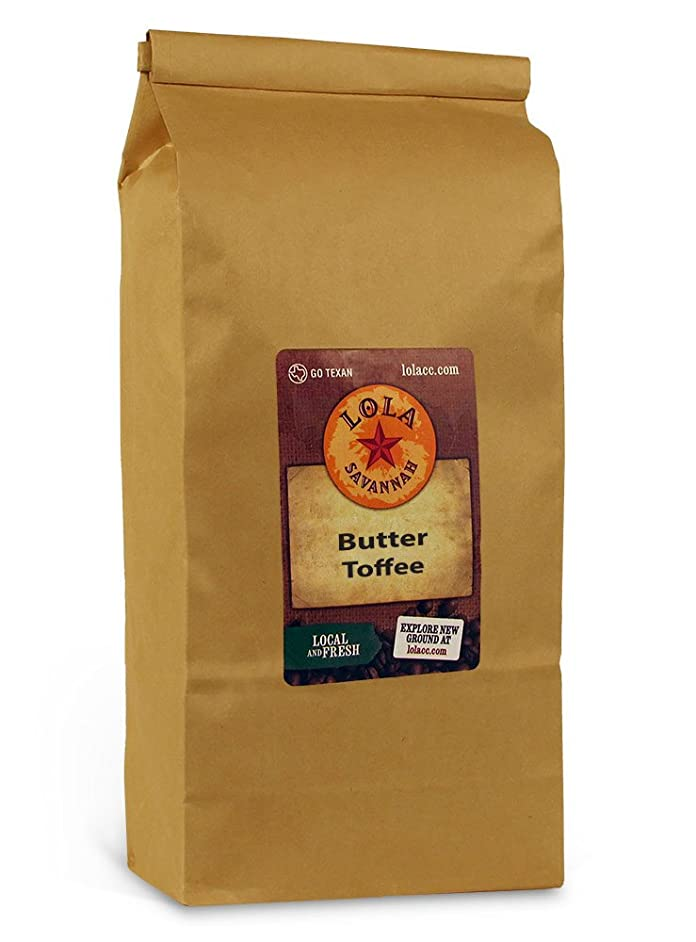 Lola Savannah Butter Toffee Whole Bean Coffee - Old Fashioned Toffee | Flavored Arabica Beans with Sweet Cream & Sugar | Caffeinated |  2lb Bag