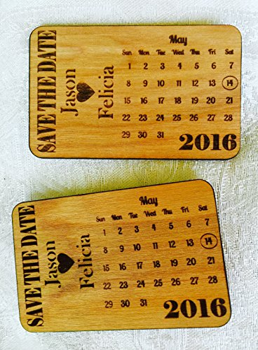 25 Save the Date Personalized Wood Engraved Cards in Calendar theme -Wallet inserts/handouts for Wedding, Anniversary, Shower and more