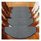Suytan Peldaños de Alfombra de Escalera Alfombras de Peldaños Semicirculares Alfombrillas de 24X65Cm Alfombrillas de Escalera de Piso Antideslizante Alfombras de Alfombra de Escalera,a,Set de 15 Piez