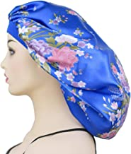 Extra Large Bonnet Sleep Caps for Women's Long Braids, Wide Band Satin Sleeping Cap Night Hat Head Cover for Natural Hair