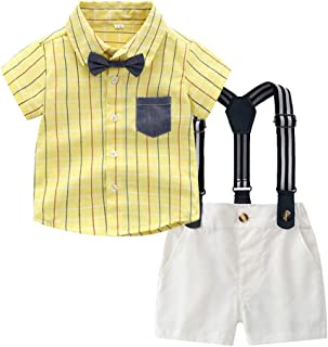 Suspenders Trousers Shorts Pants Overalls Clothing Set 3pc 3M-3T Plaid Suits Tee Shirt Tops Toddler Baby Boys Clothes Outfits Sets Gentleman Bow Tie