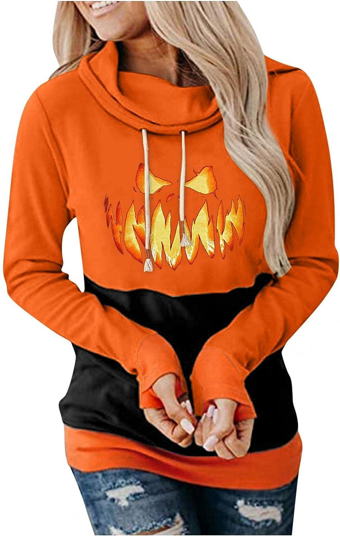 UOCUFY Hoodies for Women, Womens Lightweight Long Sleeve Shirts Loose Pullover Hoodies Crewneck Halloween Sweatshirts