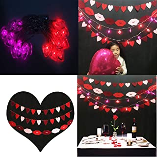 Mimosa Bar Decoration Backdrop Supplies, Heart Garland,Lips Garland, String Lights Hanging Banner for Valentines Day,Wedding, Bridal shower,Birthday Décor