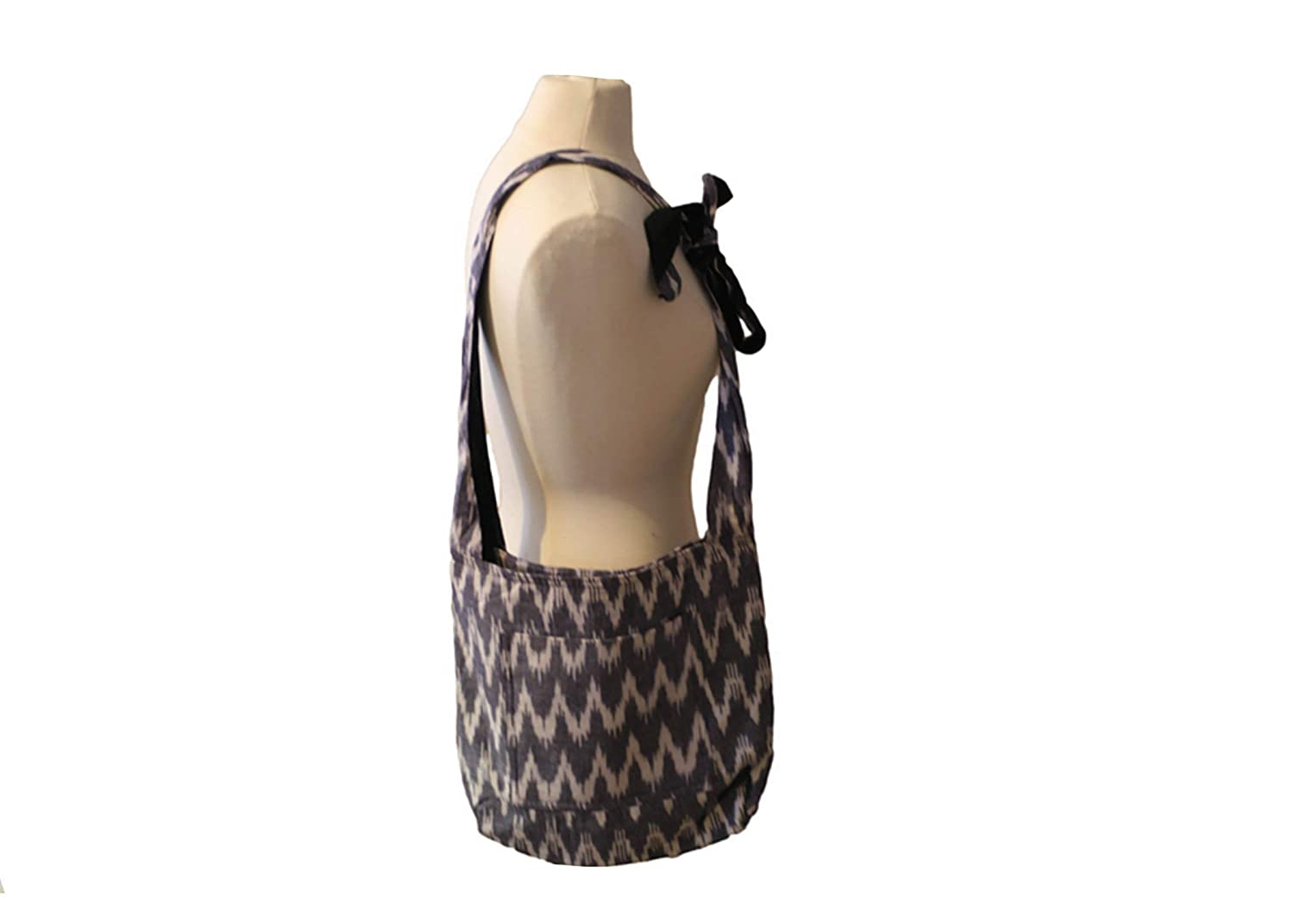 Blue White Ikat Popular brand Be super welcome Tag Bag Along Cross-body