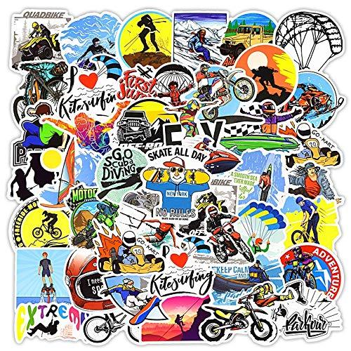 ZXXC 50 pegatinas deportivas extremas anime graffiti esquí surf paracaidismo aventura para ordenador portátil monopatín bicicleta coche X-Sports calcomanías pegatinas