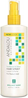 Andalou Naturals Sunflower & Citrus Brilliant Shine Hair Spray, 8.2 Fl Oz