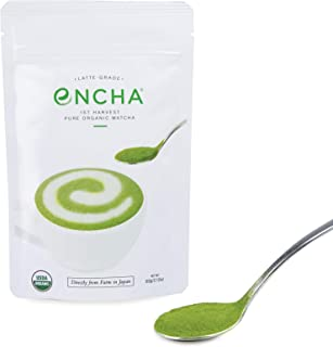 Encha Latte Grade First Harvest Organic Matcha (USDA Organic Certificate and Antioxidant Content Listed, Pure Matcha Green...