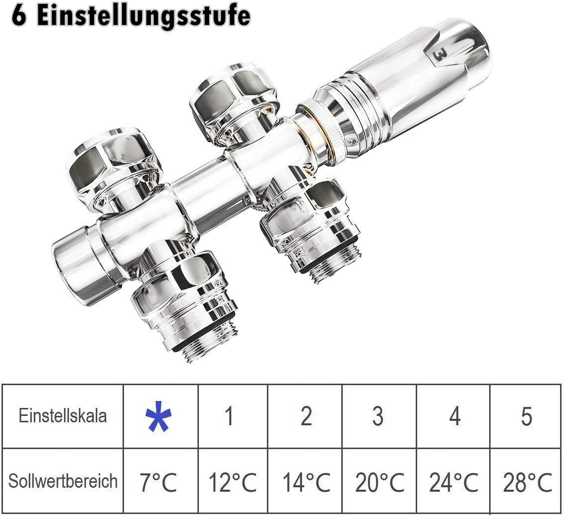/φ16*G1//2 EMKE Heizk/örper Handtuchtrockner Anschlussarmatur Ventil mit Thermotstat Anthrazit 1 St/ück Hahnblock Heizungszubeh/ör Eck und Durchgangsform 7 Verstellgetriebe