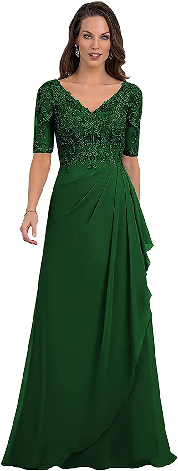 Women's V-Neck A Line Ruched Lace Mother of The Bride Dresses Long Ruffle Prom Dress with Sleeves
