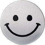 ELLU Parche de Cara Sonriente Blanca para Coser en Ropa, Bolsa, Camiseta, Jeans, Insignia Bordada