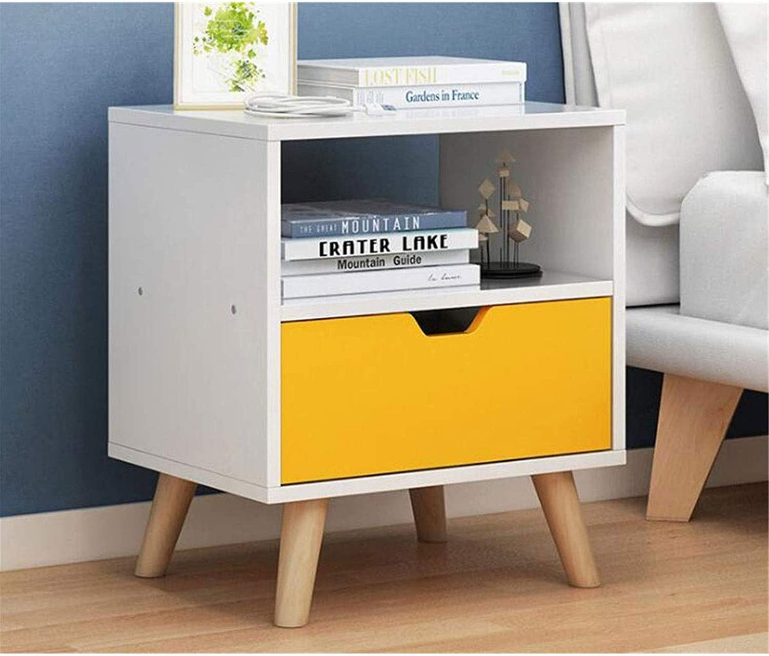 ZOUQILAI Bedside Table Nightstand with 1 Drawers, Bedroom Side Table Bedside Table, Easy to Assemble, Sturdy and Durable, Small and Cute (color   Yellow)