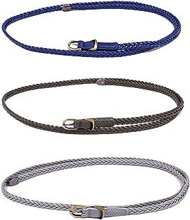 uxcell Women Skinny Braided Belt Woven - Pin Buckle Casual Waist Belt for Dresses