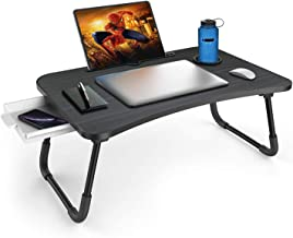 Zapuno Foldable Laptop Bed Table Multi-Function Lap Bed Tray Table with Storage Drawer and Water Bottle Holder, Serving Tr...