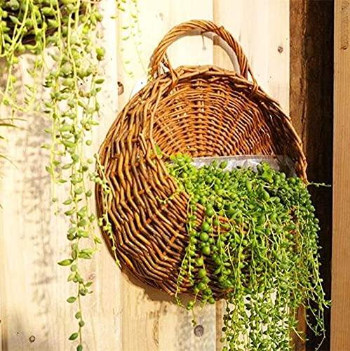 Hanging Planter Basket Handmade Wicker Braided Flower Pot Rattan Vase Garden for Room Bedroom Home Garden Outdoor Indoor Flower Plants Storage Basket Wall Window Decoration