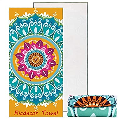 Ricdecor Beach Towel Large Mandala Beach Towel Blanket with Tassels Ultra Soft Super Water Absorbent Multi-Purpose Beach Throw 59 inch across By (NO.35)