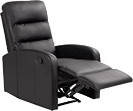 Giantex Modern Leather Recliner Chair Pushback Single Padded Seating Chaise Couch Manual Reclining Living Room Furniture Home Theater Ergonomic Lounger Sofa Reclining Chair, Black (Style 2)