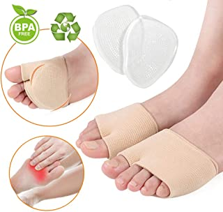 Metatarsal Sleeve Pads - Gel Sleeves Forefoot Cushion Pads - Fabric Soft Foot Care Ball of Foot Cushions for Diabetic Feet Metatarsalgia Mortons Neuroma Prevent Calluses Blisters