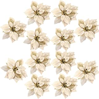 FUNARTY 16pcs Poinsettia Christmas Tree Ornaments 7.8 Inches Artificial Glitter Christmas Flowers for Christmas Tree Wreath Decorations (Gold)