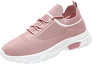 QueenMM Women's Sneakers Shoes Flat Knitting Autumn 2019 New Female Ladies Mesh Lace-Up Breathable Casual Walking Flats