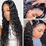 Lace Front Human Hair Deep Wave Wigs 13x4 Lace Frontal Deep Curly Wigs 100% Unprocessed Remy Hair Lace Frontal Wig Deep Wave Wigs Human Hair Pre Plucked with Baby Hair For Black Women Wig (16 Inch)
