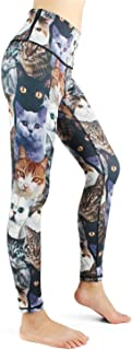 Yoga Pants Women Cute Cat Look at You High Waisted Printed Leggings Gym Tights Girls