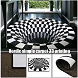 ALEXTREME 3D Carpet Mat Rug Carpet Non-Slip Doormat Nordic Simple Style Crystal Velvet Mat Home Bedroom Office Living Room Front Door Coffee Table Mat Area Rug Swirl Print Optical Illusion Floor Pad