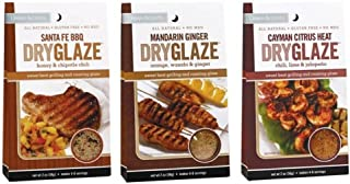 Urban Accents All Natural Grilling And Roasting DryGlaze 3 Flavor Variety Bundle: (1) Urban Accents Santa Fe BBQ Honey & Chipotle Chili DryGlaze, (1) Urban Accents Cayman Citrus Heat Chili, Lime & Jalapeno DryGlaze, and (1) Urban Accents Mandarin Ginger Teriyake, Orange & Ginger DryGlaze, 2 Oz. Ea. (3 Total)
