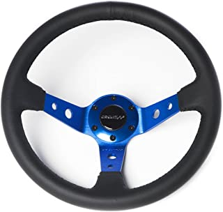 Circuit Performance CP330 Steering Wheel Blue Center with Black Leather and Black Stitching 350mm Deep Dish