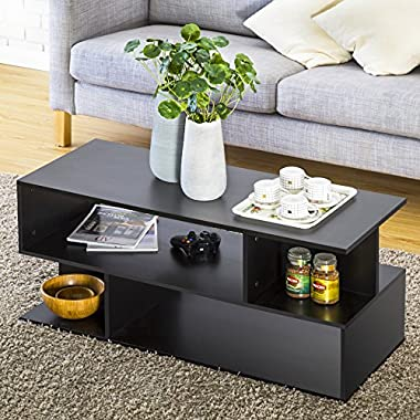 Homury Wood Coffee Table Media TV Stand Storage Console Cabinet Bookcase Display Stand Cabinet Storage Closet Organizer, Black