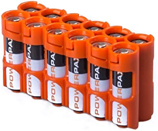 Storacell by Powerpax AA Battery Caddy Orange Holds 12 Batteries