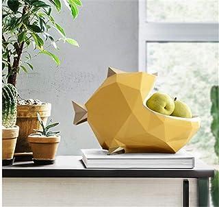 Fenghejp Nordic Three-Dimensional Geometric Multi-Function Debris Storage Box Sugar Dried Fruit Plate Creative Big Mouth Fish Key Necklace Storage Box (Color : Yellow, Size : S)