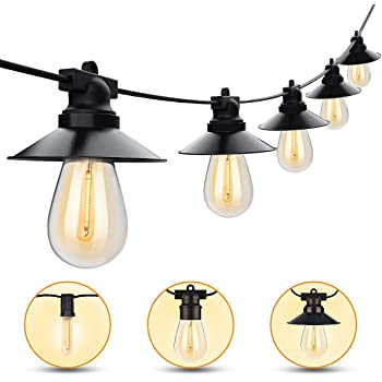 Outdoor String Lights 48ft LED String Lights Outdoor Waterproof ETL Approved Led Heavy-Duty String Light with 15 Plastic Bulbs Shatterproof String Lights Warm White for Patio Porch