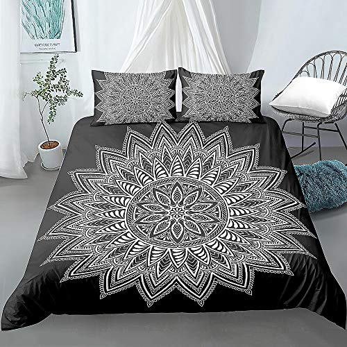 JOEYFAYE Bohemian Style Duvet Cover Set, Microfiber Bedding With Pillowcase 50 * 75cm, Zipper Closure, 200 * 200cm Bohemia3