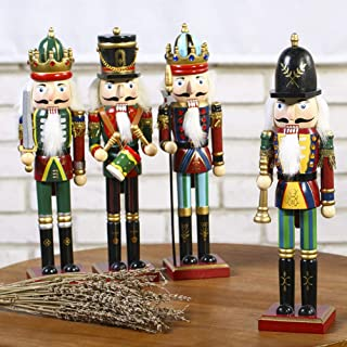 HELEVIA Casse-Noisette Soldats Ensemble De Cadeaux, 4Pcs 30cm De Noël en Bois Casse-Noisette Soldats sur Socle pour Décora...